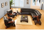 Contemporary Black Leather Sectional Sofa 6pc Set: Sofa, Two Chairs, Coffee and Two End Tables