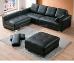 Contemporary Black Leather Sectional Sofa with An Ottoman and A Bench Set