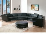 Contemporary Exclusive Black Extra Long Curved Sectional Sofa with an Ottoman