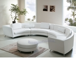 Contemporary Exclusive White Extra Long Curved Sectional Sofa with an Ottoman