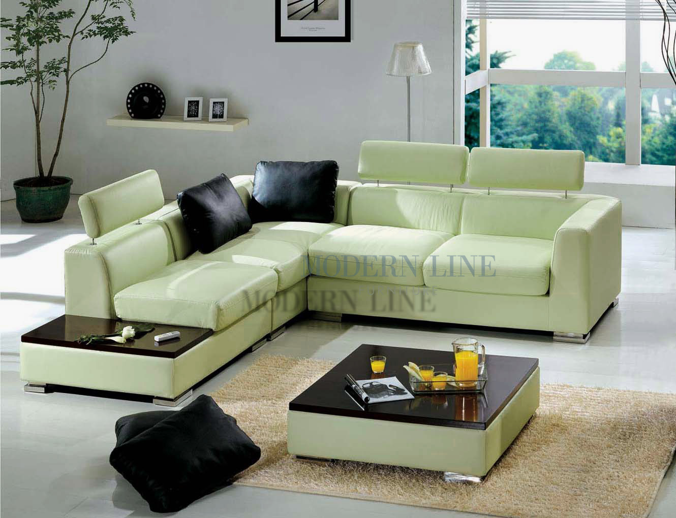 Green leather sectional sofa creative of green leather for Light green sectional sofa