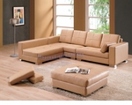 Contemporary Leather Sectional Sofa with An Ottoman and A Bench Set