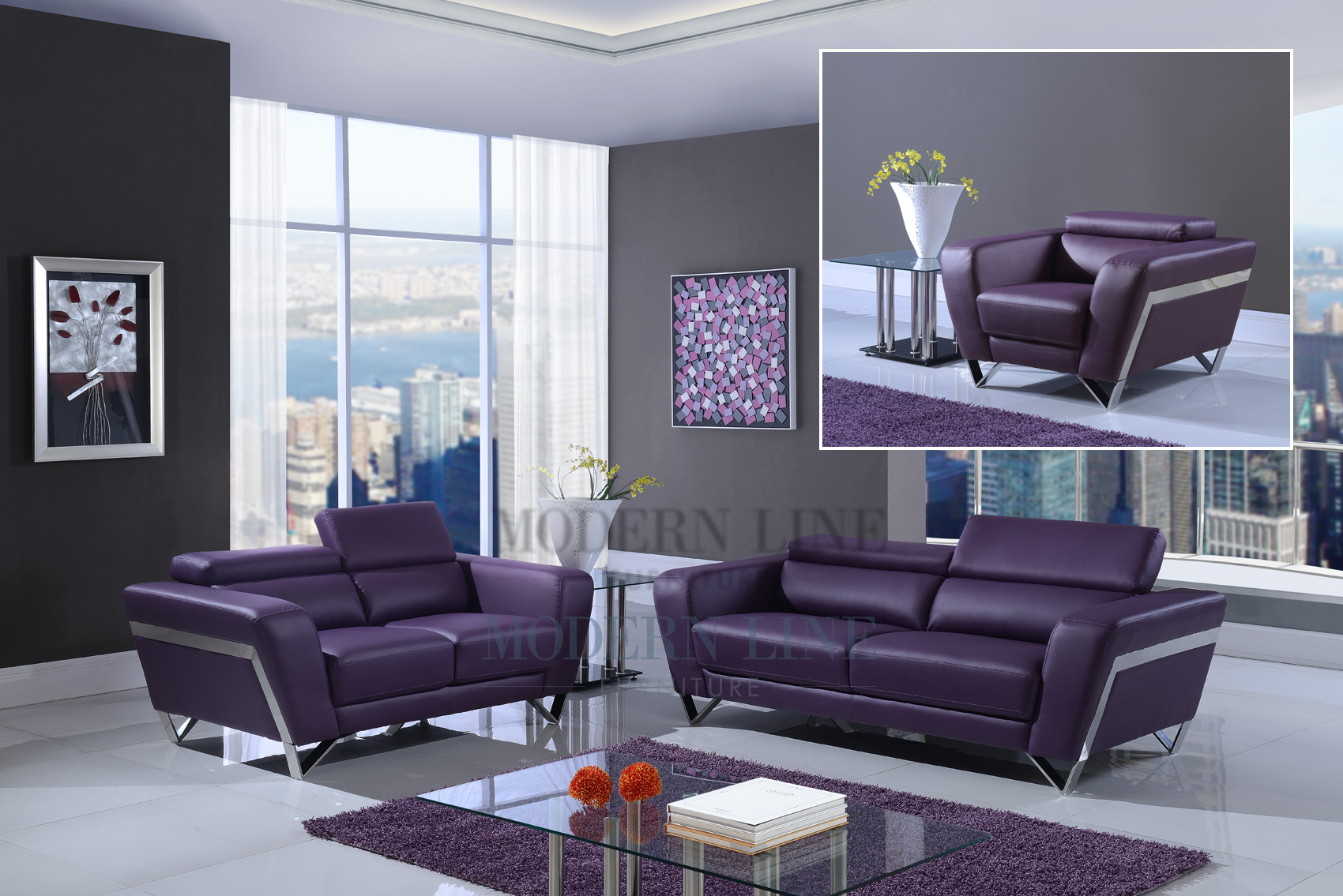 Purple living room set luxury purple furniture sets for Purple couch set