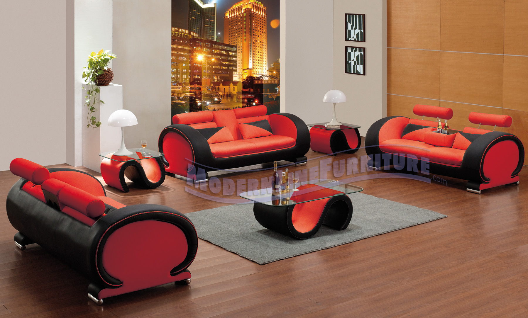 Great ... Made Furniture | Seating Collection | | | Contemporary Red U0026 Black  Leather Set Of Three Sofas With Matching Set Of 1 Coffee Table With 2 End  Tables