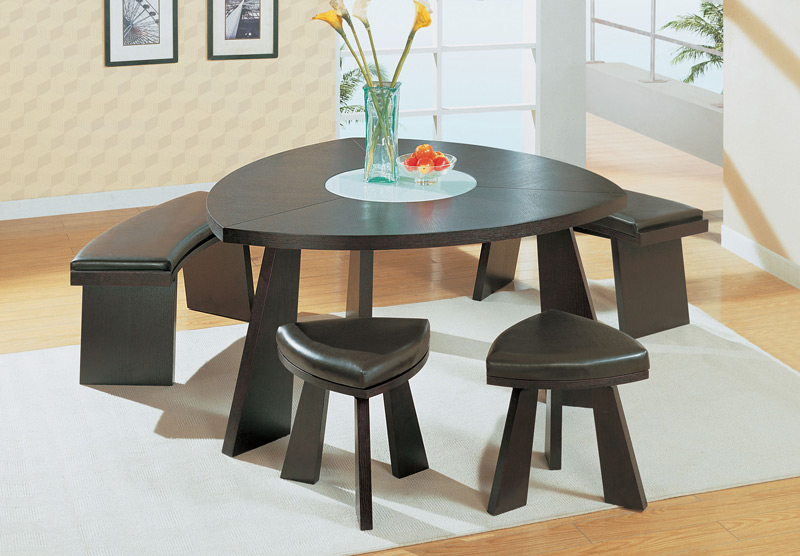wood triangular dining table with matching 2 stools and 2 benches
