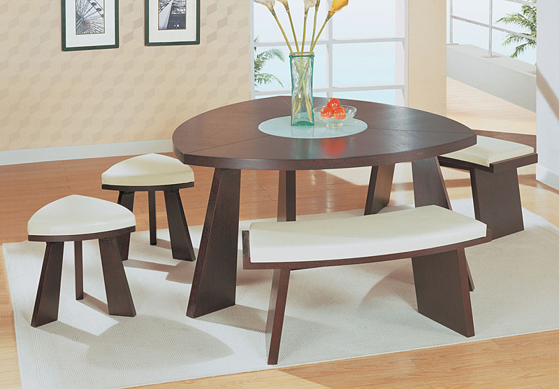 Modern Line Furniture Commercial Furniture Custom Made  : contemporary wenge wood triangular dining table with matching beige leather 2 stools and 2 benches 25 from www.modernlinefurniture.com size 800 x 556 jpeg 131kB
