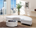 Contemporary White 2ps Mini Chaise and a Multi Function Glass Top Coffee Table