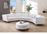 Contemporary White Curved Long Sectional Sofa with an Ottoman