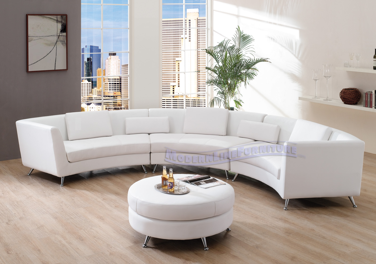 Modern Line Furniture Commercial Furniture Custom Made  ~ Curved Contemporary Sofa