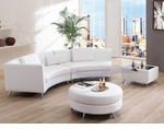 Contemporary White Left Chaise w/ Extension, Ottoman and Bar-Table