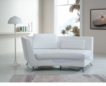 Contemporary White Left-Sided Curved Chaise