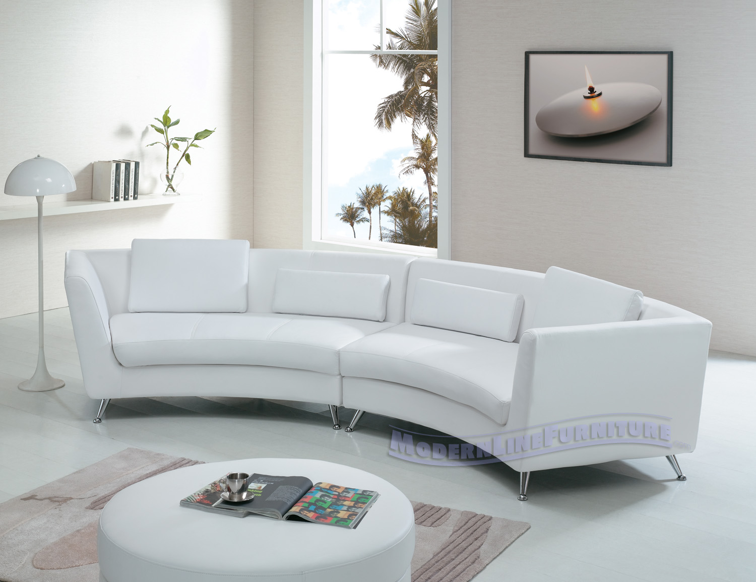 Modern Line Furniture   Commercial Furniture   Custom Made Furniture |  Seating Collection | | | Contemporary White Long Curved Sofa