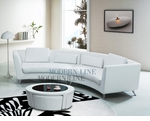 Contemporary White Long Curved Sofa and a Multi Functional White Leather Match with Glass Top Coffee Table