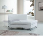 Contemporary White Open Back Curved Chaise