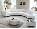 Contemporary White Open-Chaise Sectional Sofa w/Ottoman and Coffee Table