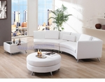 Contemporary White Right Chaise w/ Extension, Ottoman and Coffee Table