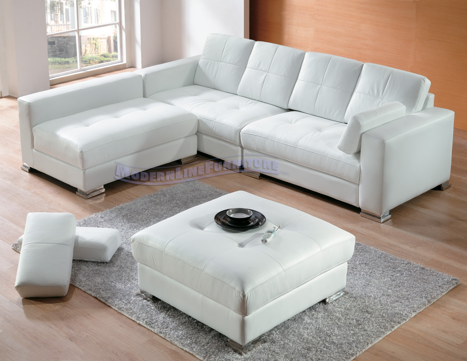 Modern White Leather Sectional Sofa Divani Casa Pella Modern White