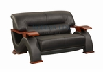 Elegant Black Leather Loveseat