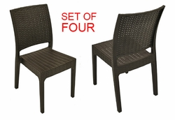Espresso Resin All-Weather Ergonomic Chairs (SET OF FOUR)
