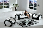 Exclusive Set! Modern White Black Leather Sofa and Two Chairs Set