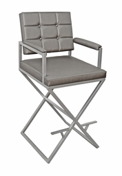 Handcrafted  - Grey Textured Fabric - Brushed Nickel Finish Metal Frame - Tall Director's Chair (Only 1 Left!)