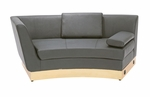 Left-Sided Black Curved Chaise with Custom Kick Panel - Commercial Grade