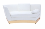 Left-Sided White Curved Chaise with Custom Kick Panel - Commercial Grade