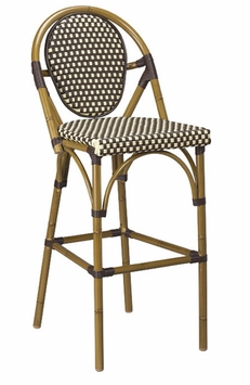 Light Walnut Base Finish / Beige - Brown Nylon All-Weather Outdoor Bamboo Style Bar Stool