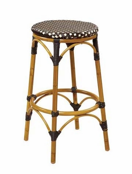 Light Walnut Finish / Beige - Brown All-Weather Outdoor Bamboo Style Bar Stool