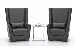 Liquidation! Black Set of Two Chairs with Coffee Table