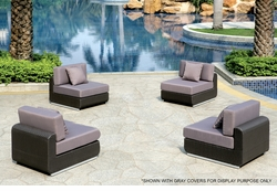 Liquidation! Black Wicker - All-Weather Collection - Four Armless Chairs Set