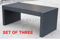 Liquidation! Black Wicker - All-Weather Collection Restaurant Table (SET OF THREE)