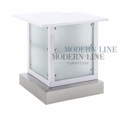 Liquidation! White Corner Bar Table With Frosted Glass Front Panels