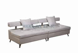 Liquidation! Extra Long Modern White Leather 2pc Sofa