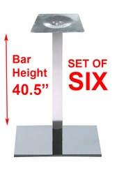 Liquidation! Modern Heavy Chrome Square Bar-Height Bases (SET OF SIX)