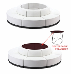 LIQUIDATION! Modern Modular White Leather (Black Bottom Outline) with FREE! 2 Piece Center Table - Seating Arrangement G10