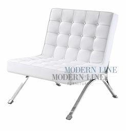 Liquidation! Modern White Leather - Button Tufted - Chair