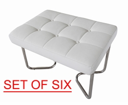 Liquidation! Modern White Tufted Design Ottoman (SET OF SIX)