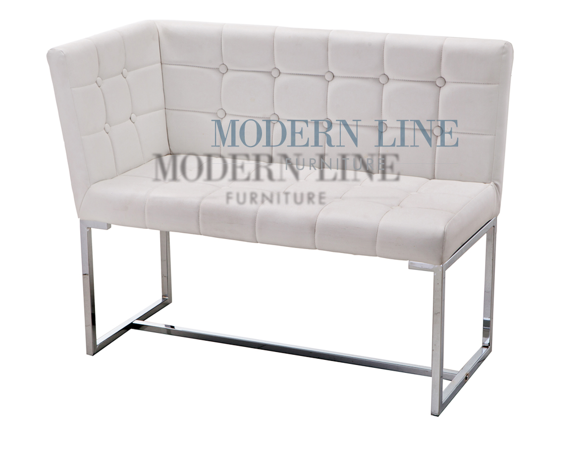 ... Clearance   VISIT OUR COMMERCIAL PRODUCT SHOWROOM TO SAVE UP TO 75% ON  ALL FLOOR MODELS   Liquidation! Modern White Tufted Leather Dining Corner  Bench