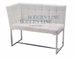 Liquidation! Modern White Tufted Leather Dining Corner Bench