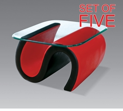 LIQUIDATION! Red & Black, Tempered Glass, Leather End Tables (SET OF FIVE)