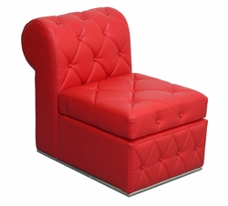 Liquidation! Red Button Tufted - Single Armless Chair