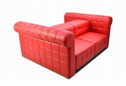 Liquidation! Tufted - Red - Double Seater with Arms Arrangement