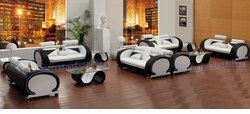 REDUCED PRICE! LIQUIDATION! White & Black Set of Six Sofas with Two Coffee Tables and Four End Tables (BRAND NEW!)