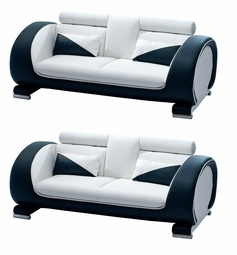 REDUCED PRICE! LIQUIDATION! White & Black Set of TWO Sofas