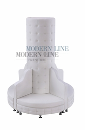 Liquidation! White Leather - Button Tufted Tall Column Seating Arrangement