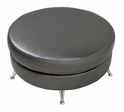 Liquidation! Zenus Hybrid Ascend Midnight Round Ottoman - Handcrafted NJ
