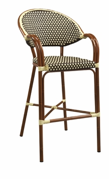 Mahogany Finish / Beige - Brown All-Weather Outdoor Bar Stool with Arms