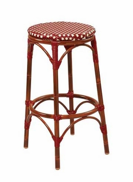 Mahogany Finish / Beige - Burgundy All-Weather Outdoor Bamboo Style Bar Stool