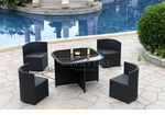 Modern All-in-One Black Rattan Patio Dining Set